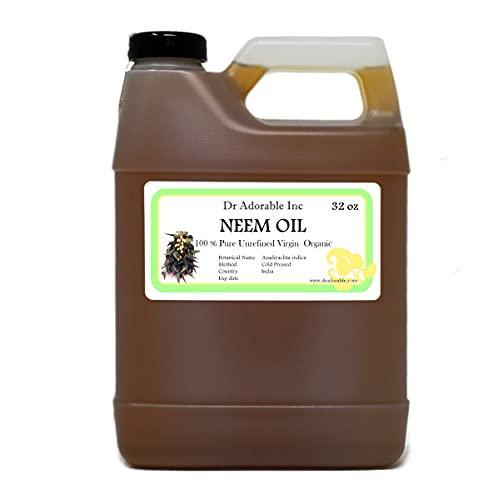 Aceite de neem puro prensado en frío orgánico por Dr. Adorable 32oz/1Quart