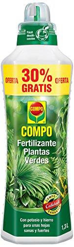 COMPO Fertilizante de plantas verdes para plantas de interior, balcón y terraza, Fertilizante líquido con potasio y hierro, 1,3 L