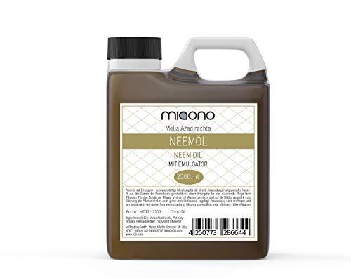miaono - Aceite de nim prensado en frío con emulsionante (Rimulgan) premezclado inmediatamente en agua, 2500 ml