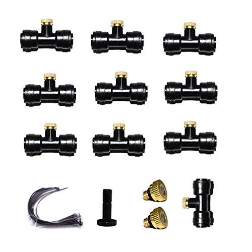Blupure Boquillas de Nebulización de Latón, 12 boquilla + 10 asiento Nebulización Boquillas, para Sistema de Enfriamiento Exterior y Control de Polvo de Paisajismo en Invernadero (0.4mm) UNC 10/24