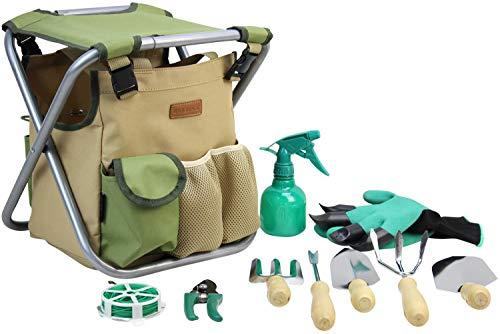 INNO STAGE Juego de 10 herramientas de mano para jardinería con bolsa de almacenamiento de jardín y organizador de herramientas de jardín