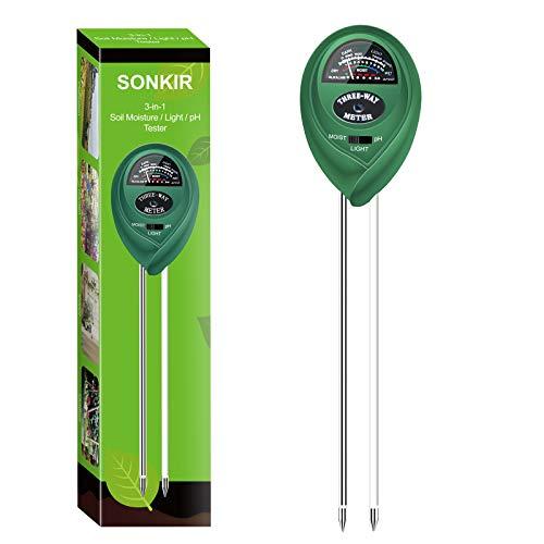 Sonkir MS01 medidor de pH del Suelo, 3 en 1, medidor de Humedad/luz/pH del Suelo, Kits de Herramientas de jardinería para jardín, césped, Granja, Verde