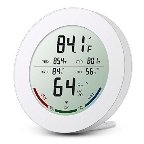 ORIA Digital Termómetro Higrómetro Interior, Medidor Temperatura y Humedad, Temperatura y Humedad Monitor con LCD Pantalla, Min/Max Registros y Tendencia de Temperatura, para Casa y Oficina – Blanco