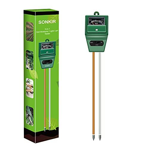 Sonkir Medidor de pH de Suelo, 3 en 1, medidor de Humedad/luz/pH del Suelo, Kits de Herramientas de jardinería para el Cuidado de Las Plantas, Ideal para jardín, césped, Granja (Verde)