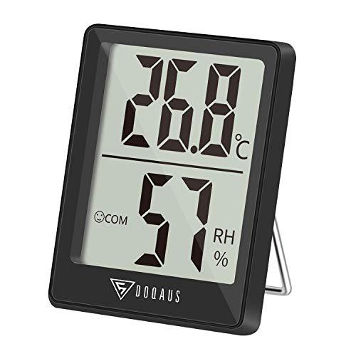 DOQAUS Mini Termómetro Higrómetro Digital, Medidor de Temperatura con 5s de Respuesta Rápida para Temperatura y Humedad del Casa Ambiente (Negro)