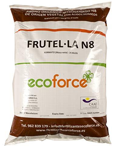 CULTIVERS Abono - Fertilizante Ecológico Universal para Jardín de 25 kg, granulado con NPK 8-1-5+74% M.O. y Ác. Húmicos. Liberación Lenta. Potencia el Crecimiento. FRUTELLA