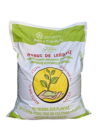 VERMIORGANIC Humus de Lombriz Ecológico 12KG (20 L), Categoría Extra. Abono para Todo Tipo de Plantas, Cultivos y Huertos Urbanos. Fertilizante Orgánico 100% Reconstituyente de la Vida del Suelo