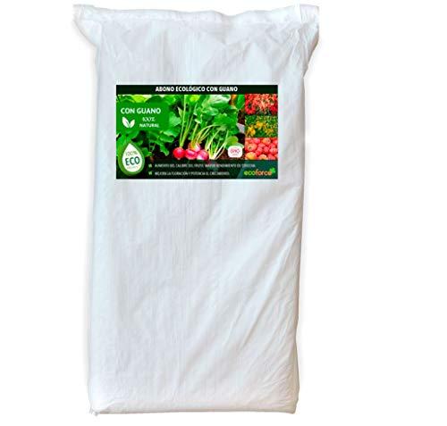 CULTIVERS Abono Ecológico con Guano de 25 kg. Fertilizante Universal de Origen 100% Orgánico y Natural para Huerto y Jardín. Alta concentración de NPK (ECO10F00148)