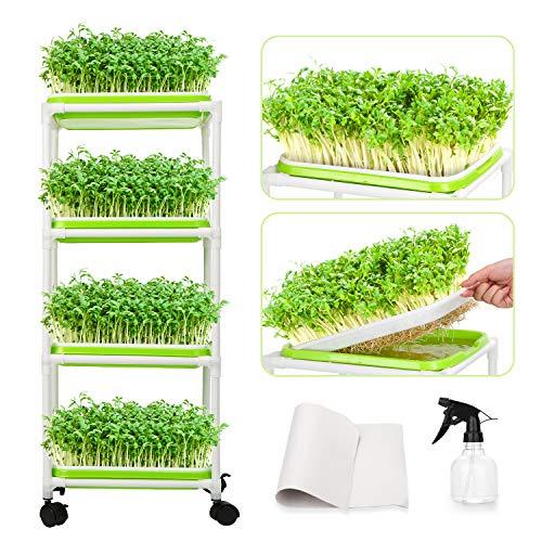 WADEO 4 Capas Bandeja Germinadora de Semillas Bandeja Brotar de Semillas con Estante de Plástico Extra Fuertepara Jardín Jardinería Invernaderos y Equipos de Germinación