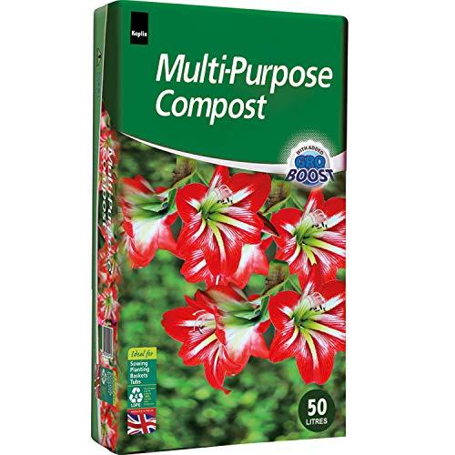 KEPLIN Compost multiusos de 50 l contiene nutrientes para plantas.