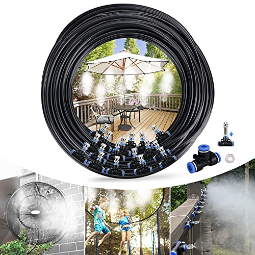 Tencoz Sistema de Enfriamiento Nebulización, 20M 24 Boquilla Sistema de nebulización para Exteriores, Kit Nebulizadores para Terrazas para Trampolín, Parque Acuático, Sombrilla, Glorieta