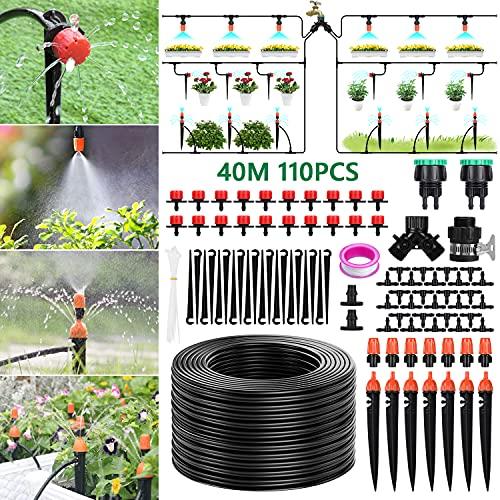 Tencoz Sistema de riego de jardín, 40m Kit de riego por Goteo Riego Manguera de 1/4' automático Rociadores automáticos Kit de riego de jardín para Jardines, Macizo de Flores, Plantas de Patio